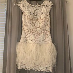 Jovani white lace dress with feathers NEW W/ TAGS